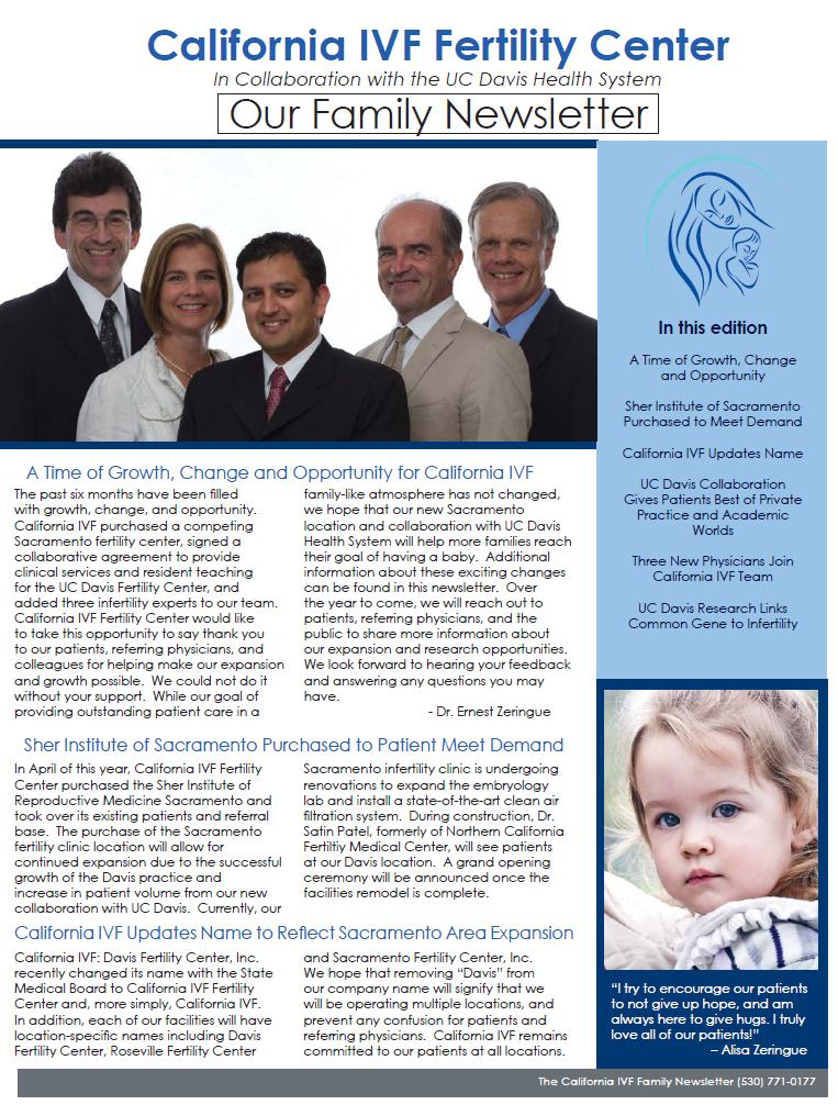 california ivf infertility newsletter for sacramento area patients and referring doctors